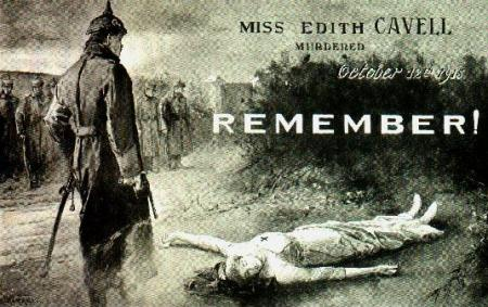 Propaganda postcard: Nurse Edith Cavell before the firing squad