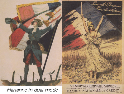 French Marianne in seductive and heroic modes