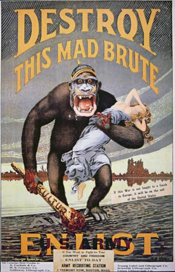 German militarism as King Kong with sexual and racist overtones